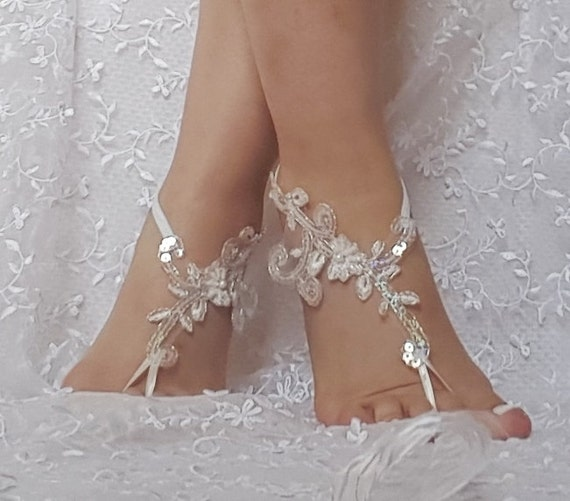 Free shipping  beach shoes Unique design bridal sandal beads sequins barefoot sandals, bangle, wedding anklet, anklet, bridal, wedding