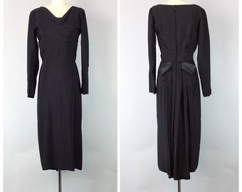 50s Crepe Little Black Dress - 1950s Vintage Bombshell Wiggle Dress With Back Bow - Medium - Size 8