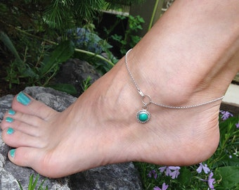 Sterling Silver Genuine Turquoise Anklet, Cabochon stone