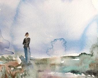 before dusk . original watercolor painting