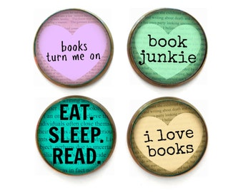 Book Junkie Book Lover Nerd Magnet Set of 4 Stocking Stuffers, Geekery Nerdy Decor, Cute Fridge Magnets, Funny Refrigerator Magnets