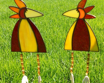 Whimsical Stained Glass Bird Suncatcher with Legs, Red/Yellow, CHOICE  #346