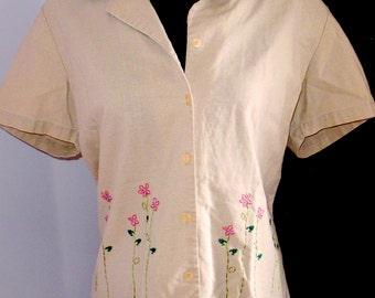 Pretty vintage blouse, Plus size vintage shirt, UK size 18, Vintage embroidered blouse, Summer blouse, summer shirt, linen blouse, Damart