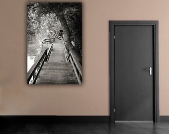 Black & White Photograph, Wooden Pathway Photography, Wooded Path Picture, Vertical Wall Art, Monochromatic Path Beside Water Photo Prin