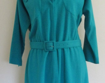 Vintage 1950s Henry Rosenfeld Turquoise Work Dress w/Matching Belt, 3/4 Sleeve
