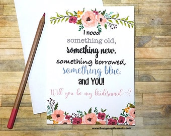 Will You Be My Bridesmaid Card- Something Old Something New Bridal Party Card - Maid of Honor Junior Bridesmaid Thank You Card - Wedding