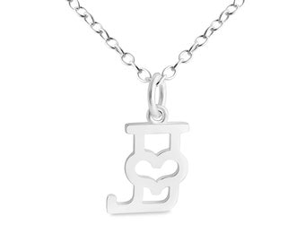 Initial Letter J with Heart Charm Pendant Necklace #925 Sterling Silver #Azaggi N0835S_J