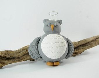 Gray Praying Owl Angel Ornament
