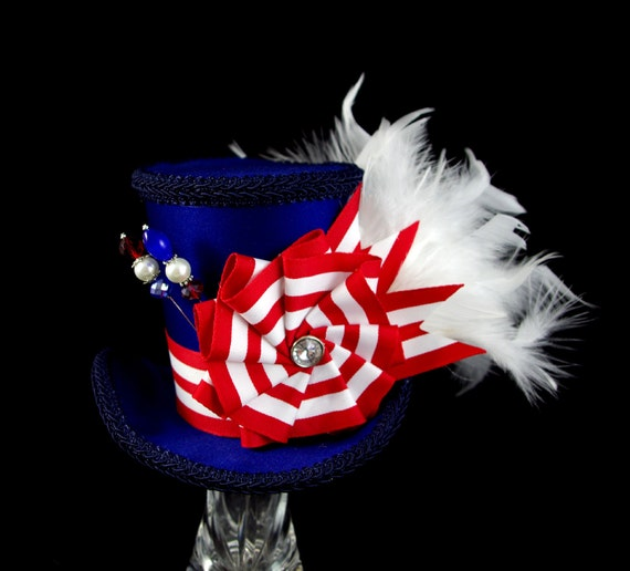 Red, White, and Blue Striped Cockade Large Mini Top Hat Fascinator, Alice in Wonderland, Mad Hatter Tea Party, Derby Hat