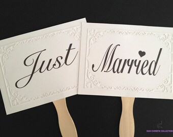 Wedding Photo prop signs, Just Married signs, double sided Wedding photo booth props, Thank you signs