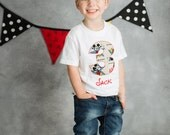 Mickey Mouse BIRTHDAY Shirt. Kids Appliquéd Personalized T-Shirt. Boy Girl Toddler Children's Disney Party Gift, Vintage Mickey Fabric
