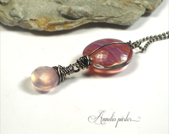 Handmade lampwork glass bead, gemstone chalcedony and sterling silver pendant, SRA, Artisan, Art glass by Anneli