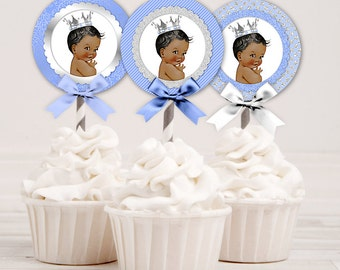 Cupcake Topper 2 Inch Circles | Light Blue & Silver | African American Little Prince | Digital Instant Download