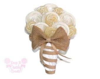 Customizable Rustic Burlap Lollipop Bouquet, White Burlap Bridal Bouquet, Rustic Chic Bouquet, Rustic Wedding, Bridal Bouquet Alternative