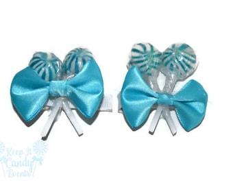 Blue Lollipop Hair Clip Set, Flower Girl Accessory, Candy Hair Clip, Something Blue,  Bridesmaid Accessory, Blue Sweet Sixteen Hair Idea