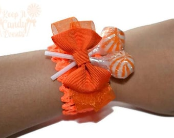 Orange Lollipop Wrist Corsage, Orange Corsage, Wedding Corsage, Candy Corsage, Lollipop Corsage, Orange Prom Corsage, Orange Wedding Ideas
