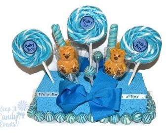 Baby Bear Boy Baby Shower Rectangle Lollipop Centerpiece, Baby Boy Baby Shower, its a boy lollipop centerpiece, blue bear candy centerpiece