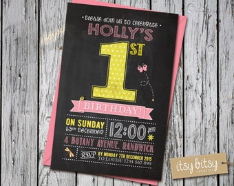 Chalkboard 1st Birthday Invitation, Blackboard Invitation, Girls Polka Dot Birthday Party, Pink, Yellow 6x4 or 5x7