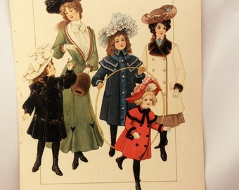 Magazine Page Delineator 1902 Fashion Illustration Girls Women Coats Hats Winter Style