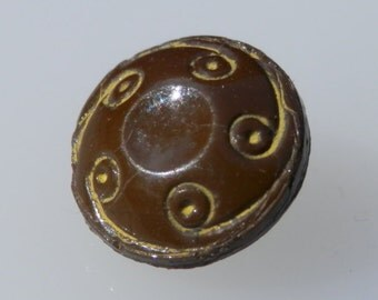 TINY Brown Glass Vintage Button
