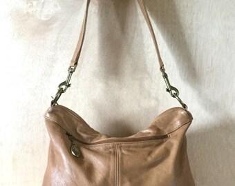 Vintage 1980s Stone Mountain Soft Tanned Leather Shoulder bag Satchel Hobo Bag Bohemian Slouch Handbag