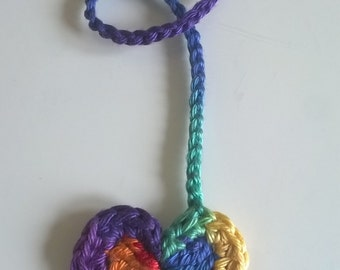 Rainbow Heart Tiny Ties Bright - Umbilical Cord Tie
