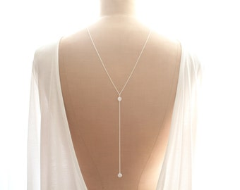 eva - Back Necklace, Backdrop Necklace, Bridal Jewelry, Wedding Jewelry, Sterling Silver Back Chain, Shoulder Jewelry