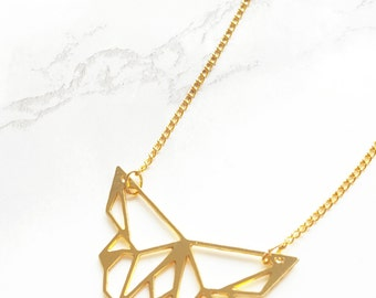 Origami Butterfly Necklace, Geometric Butterfly necklace, Gold butterfly, Animal Necklace, Geometric Necklace, Insect jewelry, Insect art