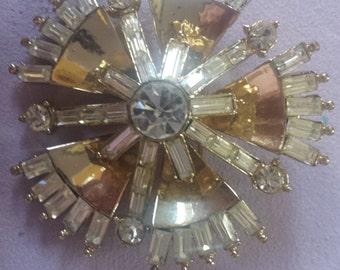Rare Corocraft Brilliant Rhinestone and gold tone Brooch ON SALE