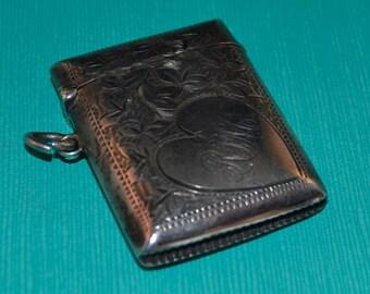 Antique Sterling Silver Vesta Match Safe, Match Holder, Monogram in Heart Design