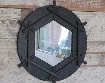 round mirror in natural slate, diam 42 cm