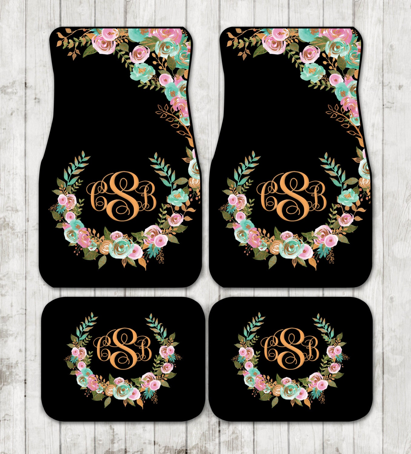 mint and gold floral monogrammed car mats classy black