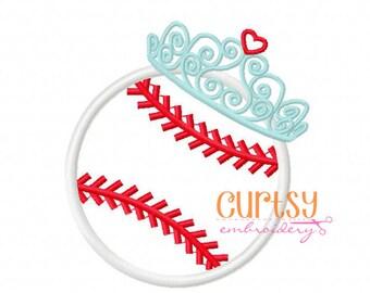 Baseball Embroidery Design, Baseball Applique Design, Baseball Tiara Applique Design, Baseball Tiara Embroidery Design