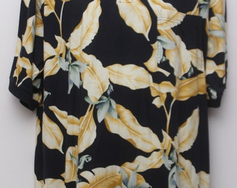 """90's Vintage """"TOMMY BAHAMA"""" Floral Patterned Polo Shirt Sz: LARGE (Men's Exclusive)"""