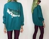 90's Large Mouth Bass Fish Sweatshirt Large - Fishing Fisherman Animal Sweater - Wildlife Fishing Sweatshirt Funny Animal Pullover Jumper