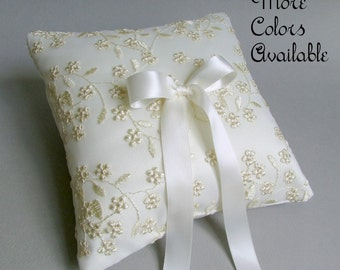 """Ivory Floral Lace Ring Bearer Pillow, Choice of Satin Color - Black, Navy Blue, Deep Red, Hot Pink, Blush Pink, Silver, or Gold, """"Flora"""""""