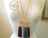 Long Genuine  Tassel Necklace, Long Leather Tassel Necklace, Bohemian Tassel Crystal Necklace, Layered and LongTassel Necklace