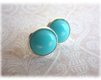 turquoise buttons - Studs with light blue cabochon - great color accent