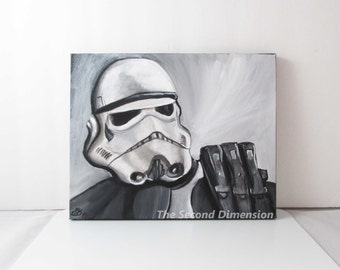 """Star Wars Sandtrooper Greyscale Art Acrylics On Stretched Canvas Sci-Fi  ( 10"""" x 8"""" )"""
