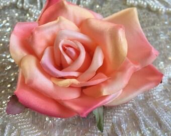 Darling Dusty Peach rose flower hair clip, vintage inspired, bridal, wedding, bridesmaids, pinup, rockabilly, burlesque, retro