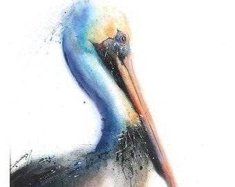 PELICAN ART PRINT - watercolor pelican print, pelican painting, pelican decor, pelican portrait, pelican wall art, pelican lover, bird art