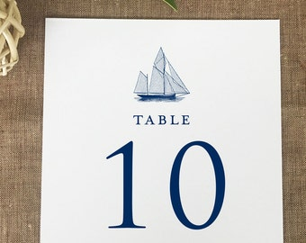 Sailboat Table Numbers, Nautical Table Numbers, Classic Wedding Table Number Cards, Formal Wedding Printed Table Numbers
