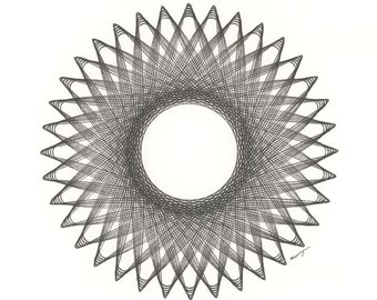 """Pen and Ink Drawing, Original Abstract Art, Black Line Drawing, Geometric Circle Pattern, Abstract Sunburst 8"""" x 10"""""""