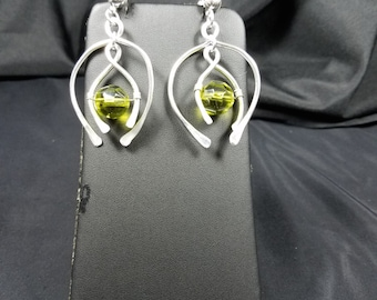 Olive Green Wire Wrap Earring