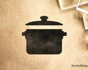 Soup Pot Rubber Stamp - 2 x 2 inches
