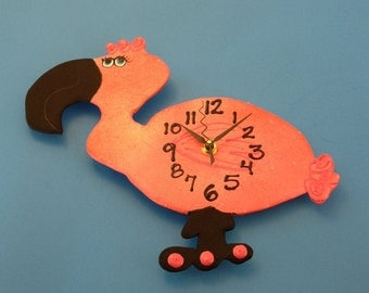 Clock, Kid's Clock, Flamingo Wall Clock, Children's Wall Clock, Nursery Clock, Flamingo Clock