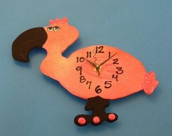 Clock, Kid's Clock, Flamingo Wall Clock, Children's Wall Clock, Nursery Clock, Flamingo Clock