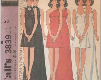 """McCall's 3839  Misses' And Junior Dress Bust 34"""""""