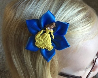 Hair Clip/Bow of Disney's Belle from Beauty And The Beast, Beast also available, Kanzashi