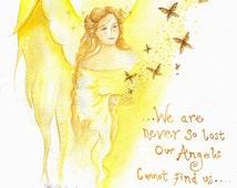Angel Blessings Small Print/AngelArt/Angel Print/Spiritual/Angel Art/Healing Art/Faerie Art/Butterfly/Magical/Inspirational words/A4 Print